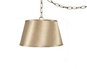 Satin Sand 19 Inch Drum Portable Swag Lamp Shade
