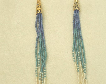 Seed bead earrings, hand made jewelry, hand made earrings, beaded earrings, fringe earrings, Native American inspired
