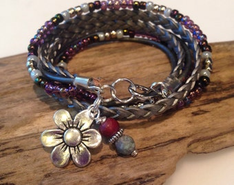 Boho Bracelet, Wrap Bracelet, Beaded Boho Wrap, Silver, Purple/Plum, Charm Beacelet, Custom, Leather Beaded Bracelet, Gift for her