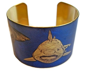 Great White Shark Maneater cuff bracelet brass Gifts for her