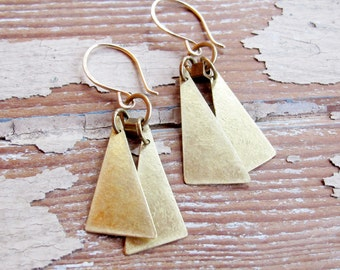 Flutter - Hand Crafted Brass Triangle Earrings - Artisan Tangleweeds Jewelry