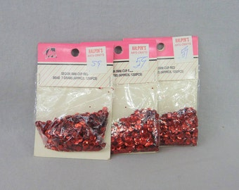 Vintage Red Sequins - 3 Bags 21 Grams Total - 5mm Red Sequins - Approximately 3750 Total Sequins New in Packages - Cup Cupped Faceted Round