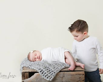 Knitted Baby Blanket, Photography Prop Newborn, Car Seat Blanket Grey Marble- Tulip Blanket
