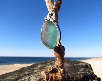 Fish Bones Teal Sea Glass Pendant