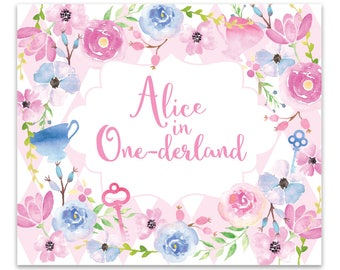 DIGITAL FILE Alice in Wonderland Backdrop, Alice in Onederland Party Decoration, 60x40 Inches