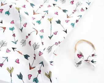 Valentines Day Blanket, Heart and Arrow Baby Swaddle, Stroller Blanket, Bow Blanket Set, Baby Girl Blanket, Receiving Blanket, Teal, Pink