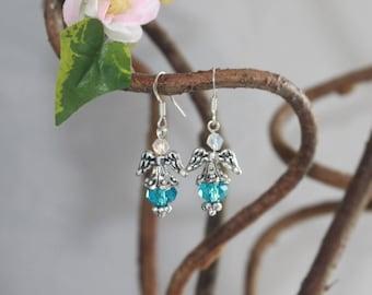 Angelic Dangle Earrings in Blue