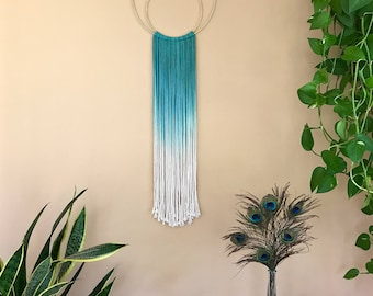 Macrame Wall Hanging - Ombre Teal & White Cotton Rope on Brass Rings - Crescent Moon Fringe Dream Catcher - Modern Boho Witchy Gypsy Decor
