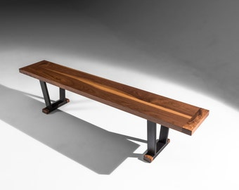 Industrial bench, Griswold Bench, walnut modern bench seat