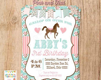 SHABBY CHIC HORSE invitation - You Print - Original in Pink and Teal