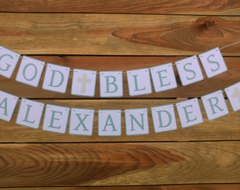 Boy Baptism Garland - God Bless Banner - Religious Baby Decorations - Baptism Reception Decor - Blue and Silver Baptism - Baby Boy
