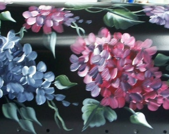 Hand Painted Mailbox, BLUE and BURGUNDY Hydrangeas, UV Resistant, Personalization available, decorative mailbox large or standard