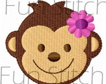 monkey girl machine embroidery design