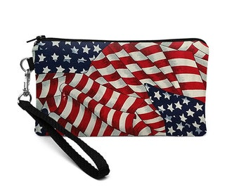 Patriotic Phone Bag, iPhone 8 Plus Wristlet, Galaxy S8 Purse, Padded Phone Clutch, Women's Clutch Wallet, Wristlet Pouch - American flag