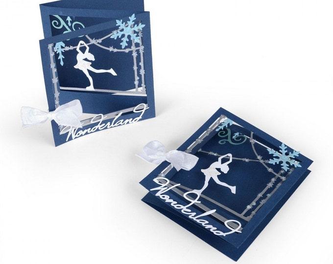 New! Sizzix Thinlits Die Set 12PK - Tri-fold Card, Ice Skater by Lindsey Serata 661558