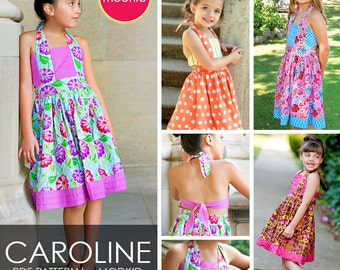 Caroline Pleated Dress PDF Downloadable Pattern by MODKID... sizes 2T to 10 Girls included - Instant Download