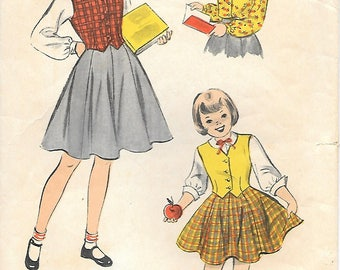 Girls 6 or 8 Advance 5577  1950s Gore Skirt Blouse and Weskit Vintage Sewing Pattern Vest Flared Skirt