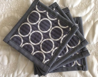 Modern Quilted Coasters - Set of 4 - Modern Fabric - Mug Rugs - Wine Coasters - Made to Order - Gray with white geometric print