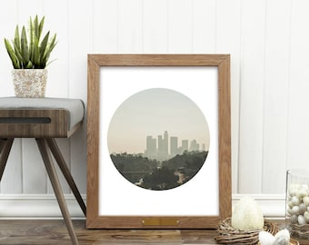 Los Angeles print, instant download, downtown LA photography, DTLA, California artwork, LA skyline photo, circle print, Myan Soffia, decor