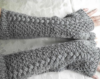 Hand Knit Fingerless Gloves in Soft Grey with Cable Stitch