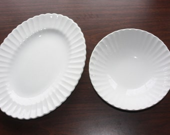 J & G Meakin Platter and Large Bowl in Classic White
