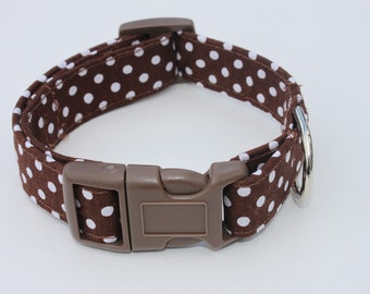 Brown and White Polka Dot Dog Collar Size XS, S, M or L