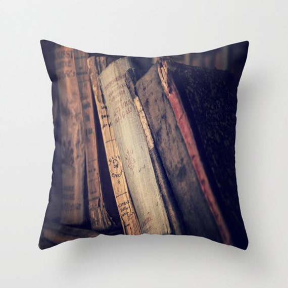 Old Books Throw Pillow, Leather Book Pillow, Decorative Pillow, Vintage Book Decor, Library Decor, Antique Books, Dorm Pillow, Office, Home