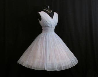 Vintage 1950's 50s Icy Pale Blue Ruched CHIFFON Organza Party Prom Wedding Dress S/M