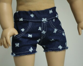 "18 inch Doll Shorts, Jean Shorts, Fit American Girl Doll, 18 inch Doll Shorts,  Denim Doll Jeans, Girl Doll Jeans, 18"" Doll Jeans"