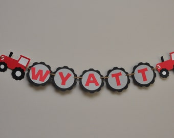 Tractor Tire Name Banner, Tractor Birthday Banner