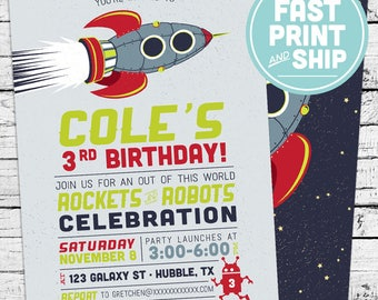 Printed Rockets Robots and Space Birthday Invitations and Envelopes