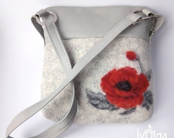 Wool Painting Womens Bag Needle Felt Poppy Purse Small Zippered Shoulder Bag Grey Faux Leather Pocket Unique Natural Art Mother's Day Gift