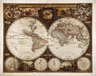 Antique world map etsy canvas world map gumiabroncs Images