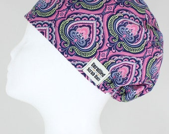 Surgical Scrub U Hat for Women - Indian Paisley Pink
