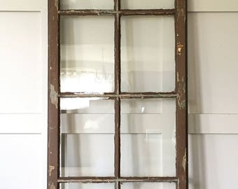 8 Pane Glass Cabinet Door, Large Old Chippy Window With Glass, Tall Old Door
