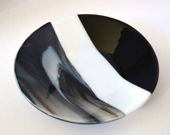 White Striped Fused Glass Bowl, Black and White Fused Glass Bowl