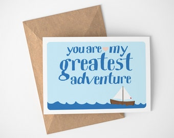 You Are My Greatest Adventure Card, Boat Lovers Gift, Card For Couple, Boat Card, Anniversary Card For Husband, Anniversary Card For Him
