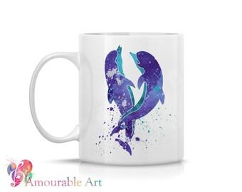 Coffee Mug, Ceramic Mug, Dolphin Mug, Unique Coffee Mug Gift, 11oz or 15oz, Watercolor Art Print Mug, Two-Sided Print, Coffee Lover Gift