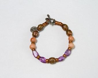 February Birthstone - Amethyst w/Jasper, Silver, Sandalwood Bali Beads