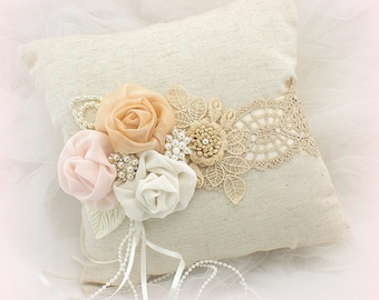 Vintage Style Linen Wedding Ring Bearer Pillow in Champagne, Rose Blush and Ivory with Pearls and Lace, Shabby Chic Wedding Gift