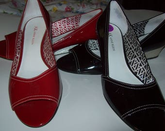 Shoes 8.5, Shoes,REDUCED TODAY !  Anne Klein, Two Pair Patent Wedges,  Gorgeous Comfortable Wonderful Low Heel Wedges, see details