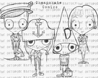 Set of 4 Whimsical Cheapskate Comics digital stamps