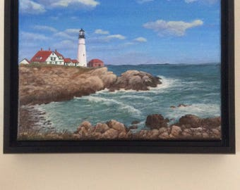 Portland Head Light, Cape Elizabeth, Maine.  Lighthouse, Maine coast, Seacoast, Ocean scene