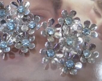 Coro Clipback Earrings Blue Rhinestone on Silver Metal Backing Vintage