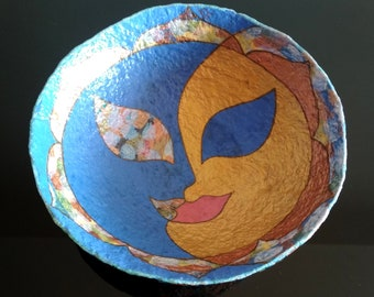 Sun and Moon, Hand painted paper mache bowl, Handmade art decor, Home accents, Centerpieces, Cute fruit plate, Beautiful candy tray, basin