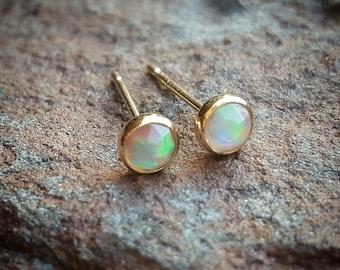 Fire Opal Earrings Opal Stud Earrings Opal Studs Womens Gift for Women October Birthstone Earrings Gold Opal Jewelry 14K Gold Opal Jewelry