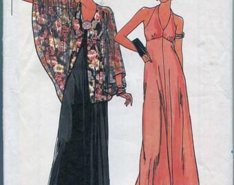 1980s Evening Dress Pattern Butterick 6357 Hippie Capelet Evening Dress Sleeveless Halter Dress Vintage Womens Sewing Patterns Size 16 uncut