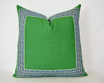 Green Pillow Cover with Greek Key Trim - Kelly Green Linen Pillow Cover