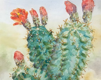 Greeting Cards: Claret Cup Cactus, Set of 4 Blank Note Cards, 4.25x5.5 inches