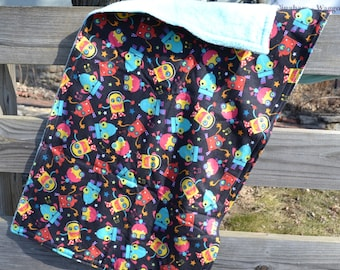 """Security Blanket - Baby Lovey - Robot Print - 20"""" x 40"""" Flannel and Super Plush Fabric - Blankie"""